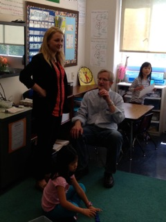 My husband and Meredith in her classroom.