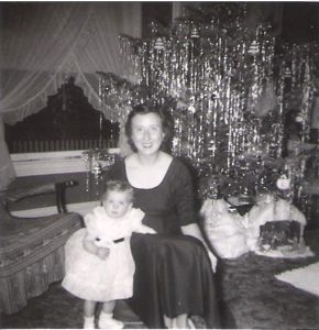 The author with her mother on a long-ago Christmas--for SWF blog